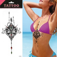 1pcs Red Green Gemstone Jewerly Colorful Tattoo Chest Beast Tattoo Tattoo Sticker Temporary Tattoo Chest Body Art Tatuagem
