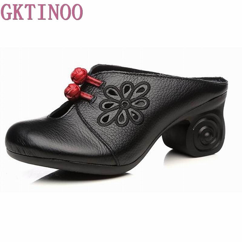GKTINOO Women Sandals 2018 Summer Genuine Leather Shoes Woman Flip Flops High Heels Fashion Platform Female Slides Ladies Shoes