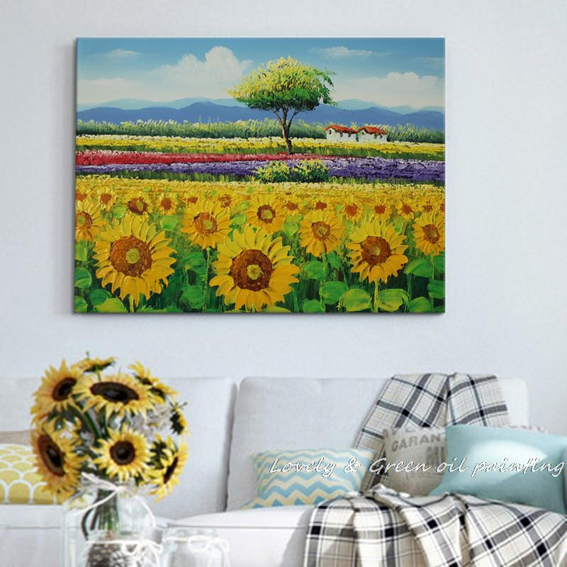 Frameless Handpainted High Quality Sunflower Oil Painting Wall Art Pictures On Canvas Painting For Living Room Wall Decor