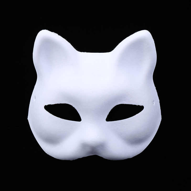 Beyaz Hamuru Boyasiz Bos Tilki Kedi Yuz Maskesi Diy El Boyama