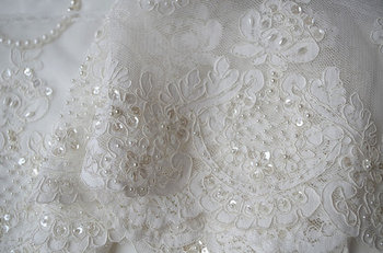 ivory pearl bead lace trim, cord lace, sequined trimming, bridal wedding fabric lace, 10 yards, LT016DZ