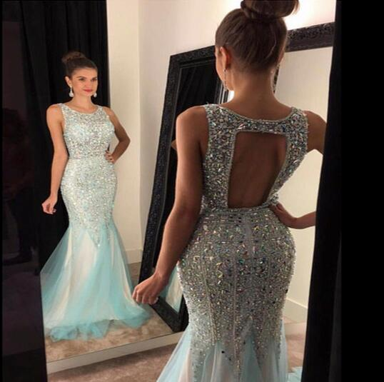 Bling Bling New Mermaid   Prom     Dresses   2017 Scoop Sleeveless Sweep Train Crystal Beading Tulle Evening   Dress   Robe de soiree