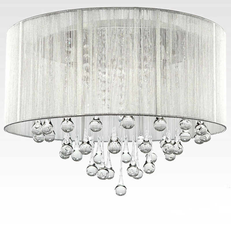 Black cloth lampshade&Drops of water crystal Modern Crystal ceiling lamp Wave Crystal Pendant Lamps Lighting Rain Drop ZXD0024
