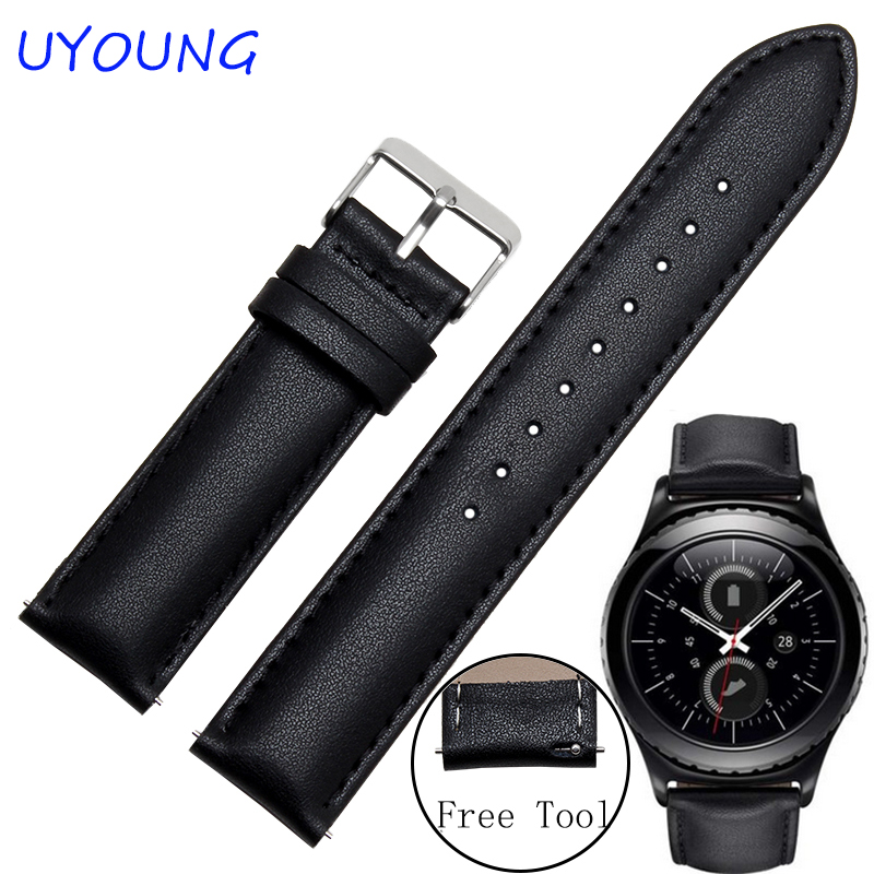 Quality Genuine Leather watchband 20mm 22mm For Samsung Gear S2 S3 Classic/Forntier Smart watch strap  bands Free tools wireless cradle charger for samsung gear s2 classic smart watch