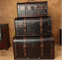 Wooden box European suitcase Retro Style Gift wooden jewelry box big zakka Storage Box black Photography props wooden suitcase