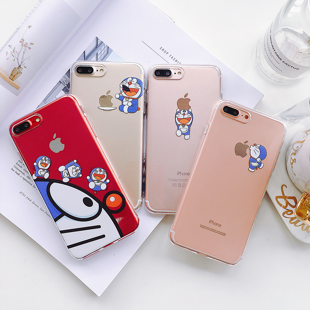Phone Cases Doraemon Clear TPU Case Cover for iPhone 7 7Plus 8 8plus 6 6s soft back cases for iphone X phone protective shell