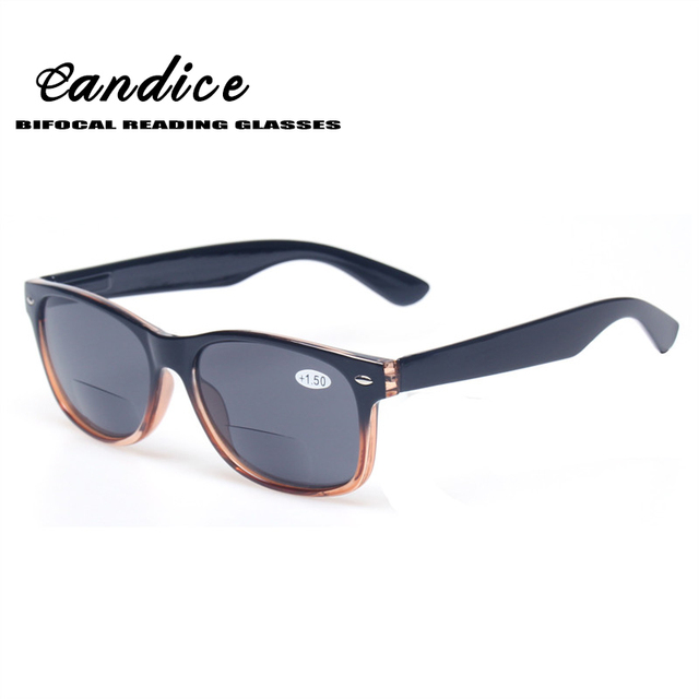 Bifocal Reading Glasses Grey Lens Fashion Men and Women Spring Hinge Plastic Presbyopia Glasses Outdoor fishing sunglasses