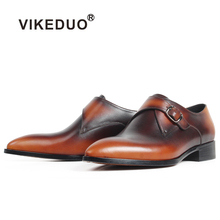VIKEDUO Pointed Toe Patina Monk Shoes For Men Genuine Cow Leather Wedding Office Dress Shoes Male Brown Casual Zapato de Hombre heinrich the new listing brand luxury genuine leather men shoes pointed toe hasp male wedding dress shoes zapatos de hombre