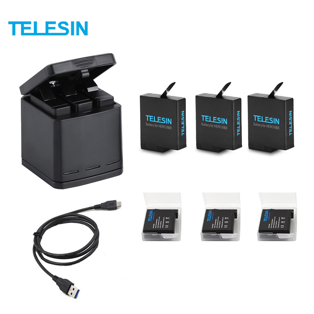 TELESIN 3 Slots LED Battery Charger Charging Storage Box +3 Battery Pack + Type C Cable for GoPro Hero 5 6 Camera Accessories стоимость