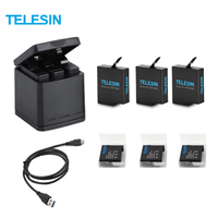 TELESIN 3 Slots LED Battery Charger Charging Storage Box +3 Battery Pack + Type C Cable for GoPro Hero 5 6 Camera Accessories