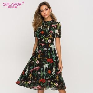 Image 5 - S.風味半袖プリントドレス女性の新しいファッションシフォンスリムaラインドレスボヘミアン夏ミディドレス