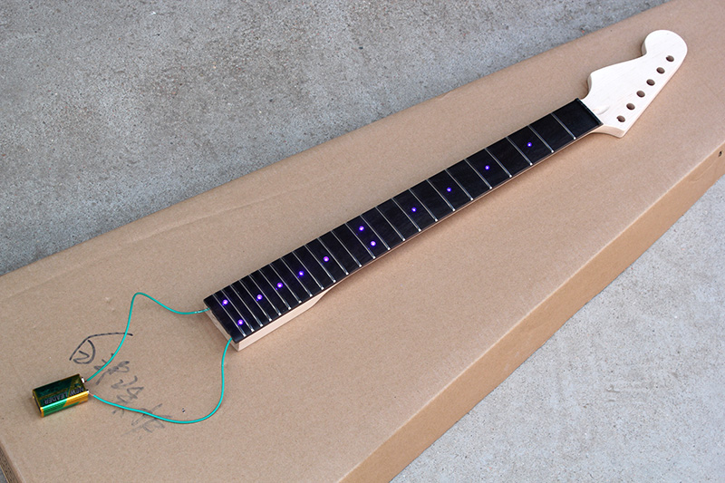 electric guitar neck with blue light rosewood fretboard reverse headstock 24 frets 6 strings. Black Bedroom Furniture Sets. Home Design Ideas