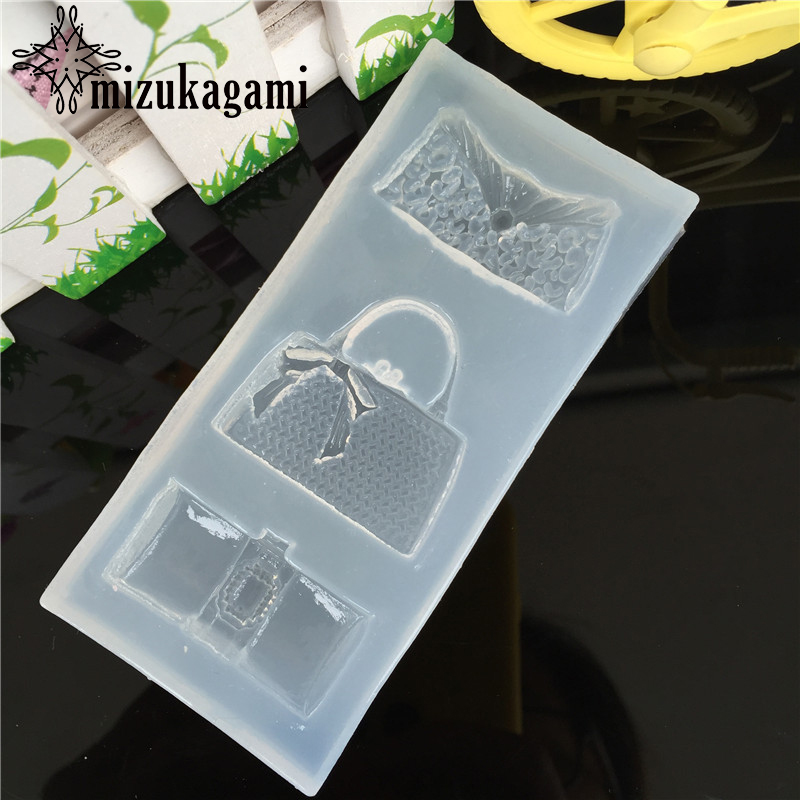 1pcs UV Resin Jewelry Liquid Silicone Mold Handbag Wallet Shape Resin Charms Molds For DIY Intersperse Decorate Making Molds