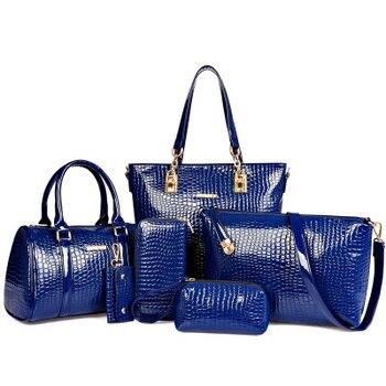 b08f2b442bc4 6 шт. женская сумка набор кожаная сумка через плечо сумки женские брендовые  сумки женские повседневные