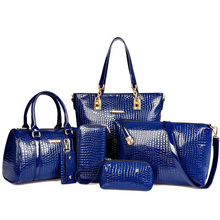 цена на 6pcs Women Bag Set Leather Handbag Shoulder Crossbody Bags Female Brand Handbag Ladies Casual Totes Clutch Purse Composite Bag
