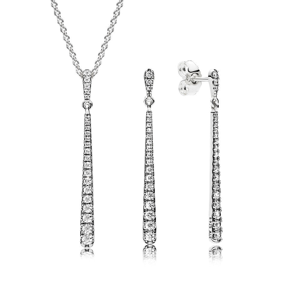 100% 925 Sterling Silver Shooting Stars Gift Set Fit Charm Original Necklace Woman Jewelry Two Pieces Of Set