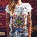 2016 Nueva Europa Y América Las Mujeres Del Verano Impresiones de Algodón O Del Cuello de La Camiseta 9 Colores de Moda Mujer de Manga Corta Tops Camisa