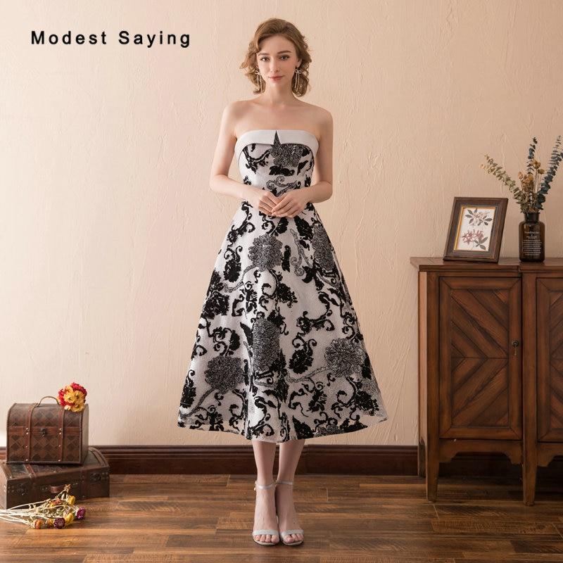 modest vintage style black floral print evening dresses