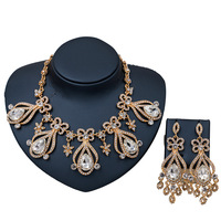 Dealky New Fashion Necklace Set Jewelry Gold Rhinestone Glass Costume Jewelry Sets African Nigerian Necklace and Earring Set
