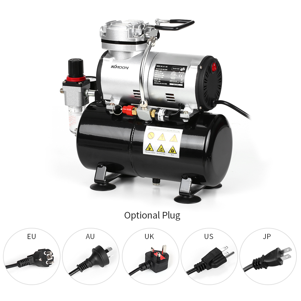 KKmoon Professional Airbrush Compressor Oil less Quiet High pressure Pump Tattoo Manicure Spraying Air Compressor Tank