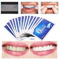 28 Sztuk/14 Pair 3D Biały Żel Paski Do Wybielania Zębów Oral Hygiene Opieki Dwukrotnie Elastyczne Paski Do Wybielania Zębów Dentystycznych wybielanie Narzędzia