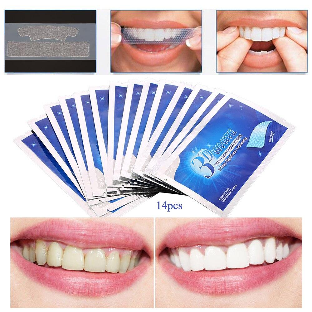 Afbeeldingsresultaat voor 28 Stuks/14 Paar 3D White Gel Tanden Strips Mondhygiëne Care Dubbele Elastische Tanden Strips Whitening Dental bleken Gereedschap
