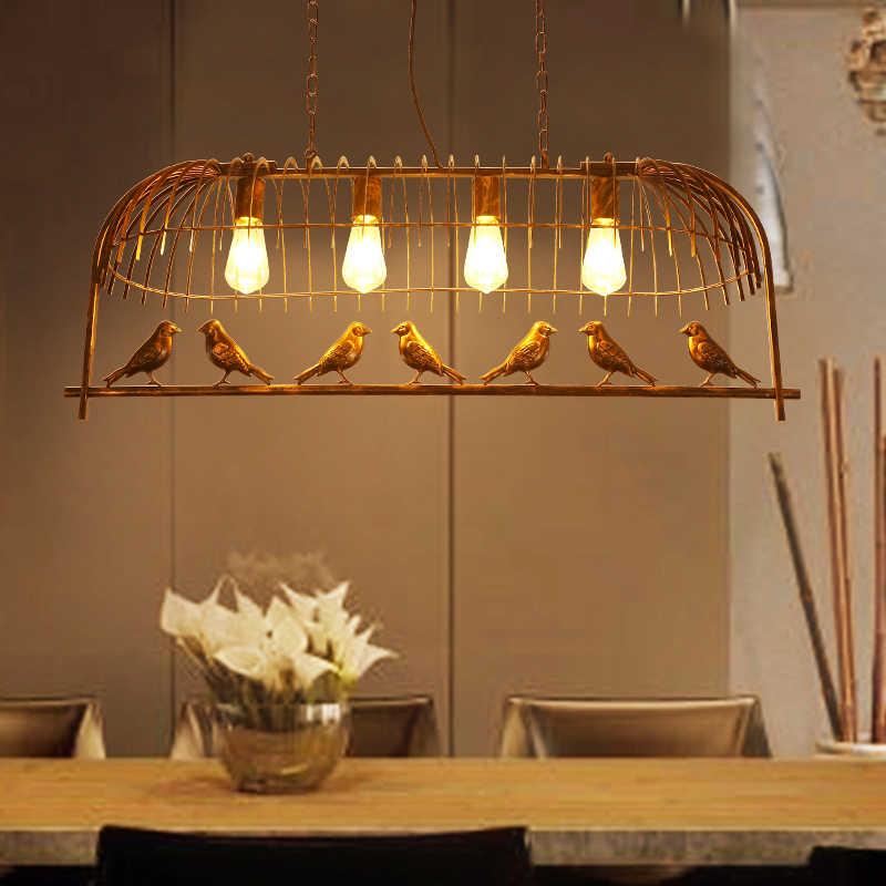 E27 Винтаж железный подвесной светильник Американский промышленный Лофт, ручной стержень, для кафе, для Декор с птицами подвесные лампы и настольные ламы блеск 4 головки лампа с клеткой