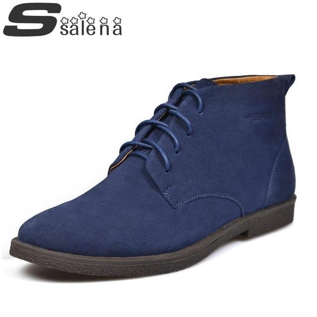 Nuevos Hombres de Cuero de Gamuza Botas de Marca Botas de Nieve de La Manera de La Vendimia Hombres Y Zapatos Al Aire Libre Hombres otoño zapatos A197