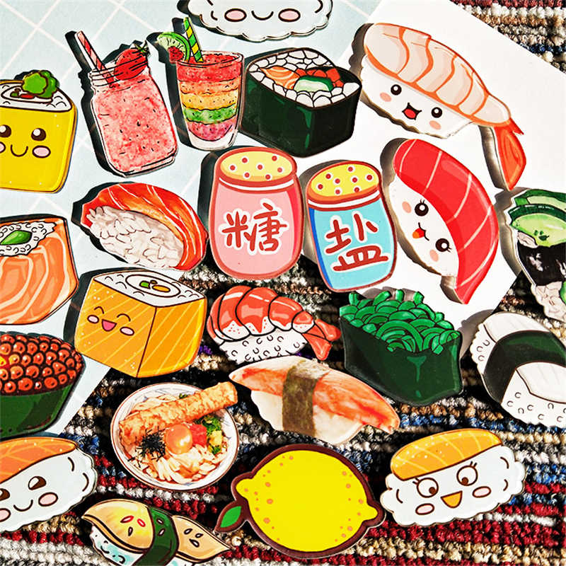 1PC Maxisin Acrylic cartoon Food Sushi Fruits Icons on badges on a pin Kawaii icon badge pin on backpack brooch for clothing