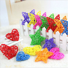 10PCS Color Wedding Ornaments Decoration Kids Gifts Random DIY Rattan Star Heart Sepak Takraw Ball Christmas Birthday Party&Home