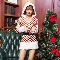 Christmas Santa Claus costume suit dress with white foot covers Masquerade performance costume