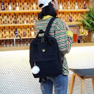 Image 3 - Sac à dos en toile jaune pour femmes, sac de voyage de grande capacité pour adolescentes, mignon, à la mode, nouvelle collection