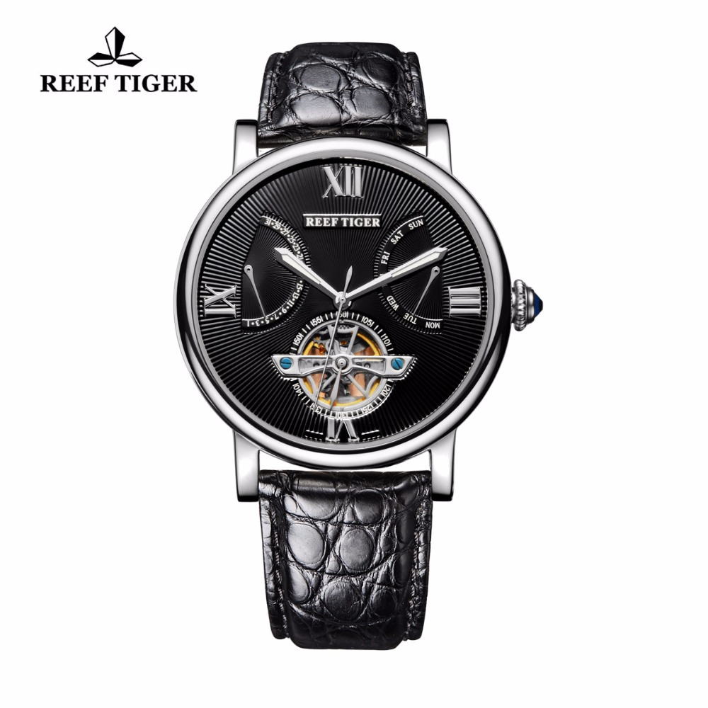 Reef Tiger RT Tourbillon Automatic Watches with Date Day Steel Alligator Strap Designer Casual Watch for