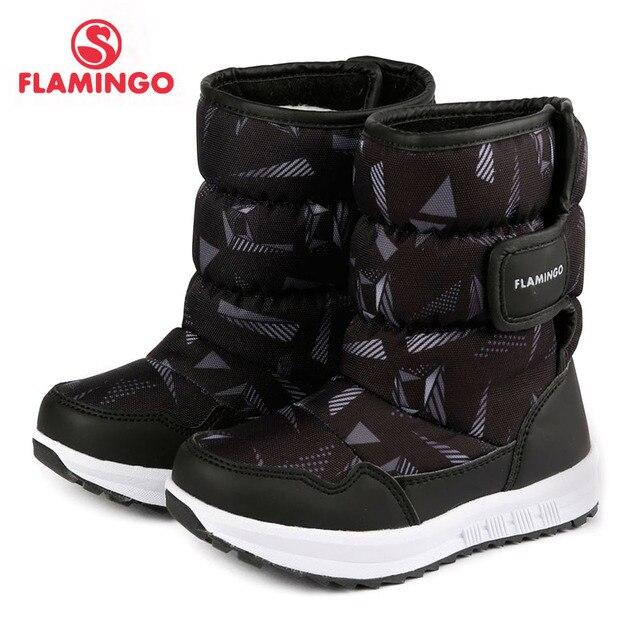Теплая зимняя новогодняя Детская обувь с изображением фламинго, Размеры 26-31, Нескользящие зимние ботинки для мальчиков с шерстяной подкладкой, 72D-NQ-0442