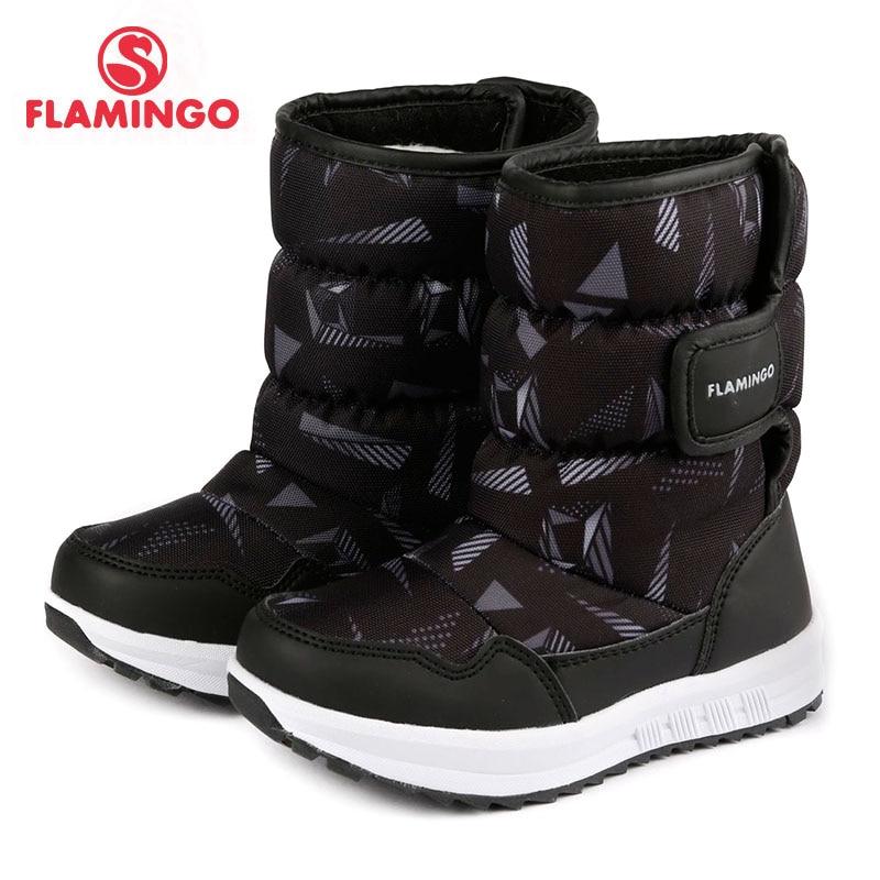 FLAMINGO warm winter new year kids shoes size 26- 31 anti-slip hoop & loop wool lining black boy snow boots 72D-NQ-0442 cosway nq