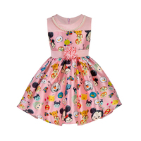 High Quality Flower Girls Dress Minnie Mickey Print Baby Girls Princess Dress Children Clothing Sleeveless Kids