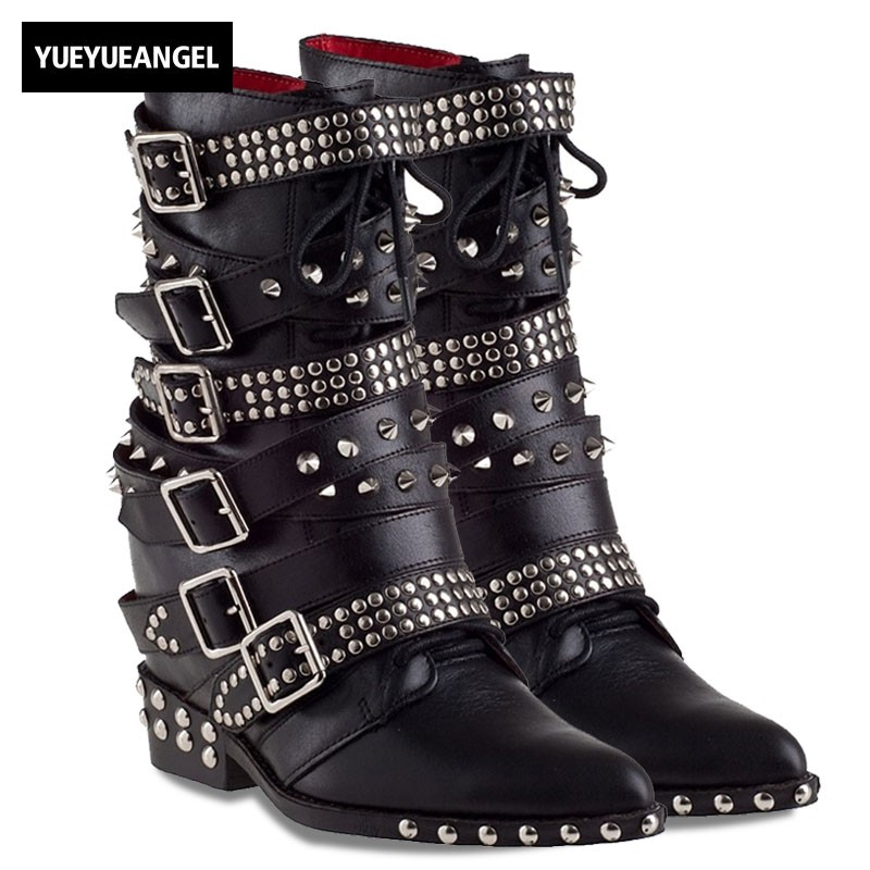 100% Real Leather Buckle Strap Rivet Motocycle Ankle Boots Women Luxury Brand Punk Pointed Toe Lace Up Wedge Martin Boots Black lace up cross strap buckle ankle boots