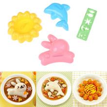 4 pcs/set Rabbit Dolphin Onigiri Sandwich Cake Punch Mould Curry Rice Mold Japanese Style DIY Kids Bento Tool(China)