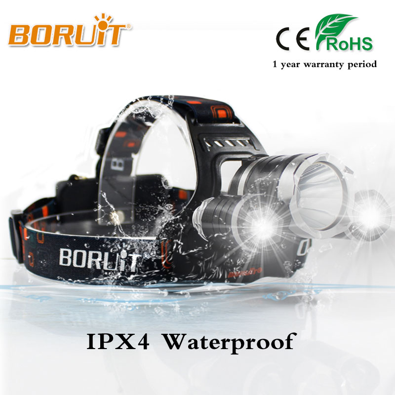 Boruit RJ 3000 Headlight 5000 Lumen Headlamp XML L2 LED Head Lamp White Light Linternas Frontales