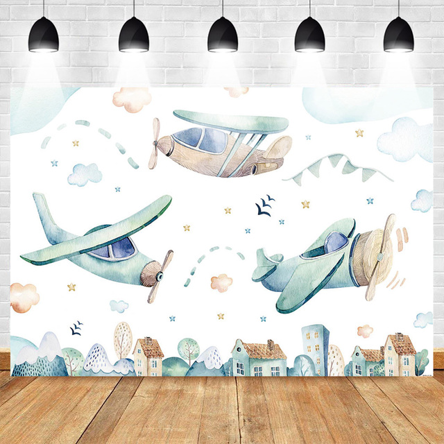 Neoback Cartoon Backdrop for Photography Celebration Birthday Photo Background Plane Banner for Boys Cloud and Sky Vinyl Cloth