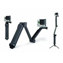 Sports Camera Accessories Multi-function Selfie Sticks 3 Way Extension Arm Monopod Tripod For Go Pro Hero 4 3+ 2 XiaoYi