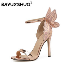 BAYUXSHUO Women Sandals Big Bowknot Stiletto Pumps 3D Sewing Butterfly Open-Toed