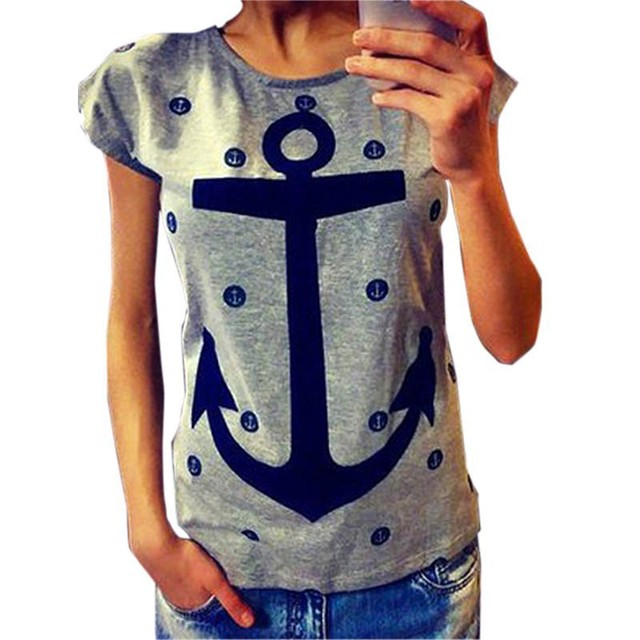 Aliexpress eBay explosion models 2015 summer new anchor letters loose version of women T-shirt factory direct