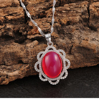 famous brand 925 Sterling Silver Pendant women Jewelry high grade Chalcedony natural semi precious stones red girlfriend gift