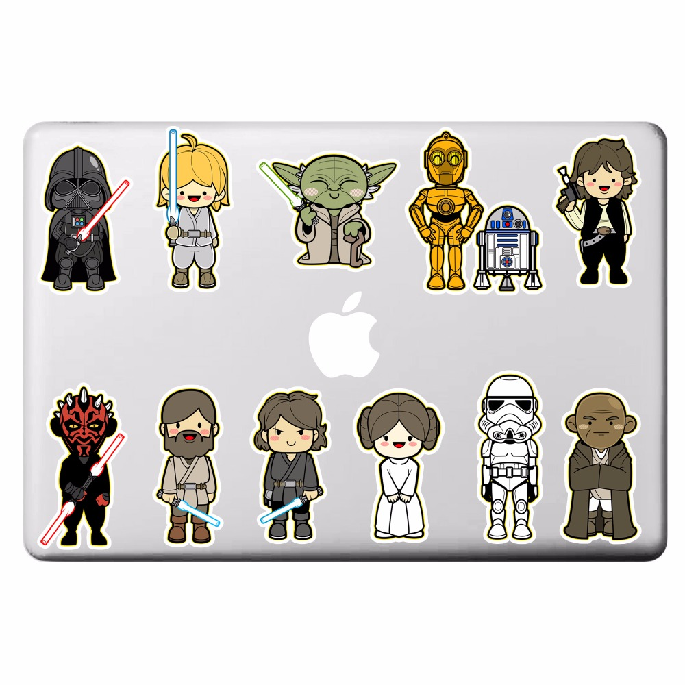 Star Wars 11 Classic Characters Laptop Stickers for DIY Partial Decal Air Pro Retina Mac Notebook Skin Sticker