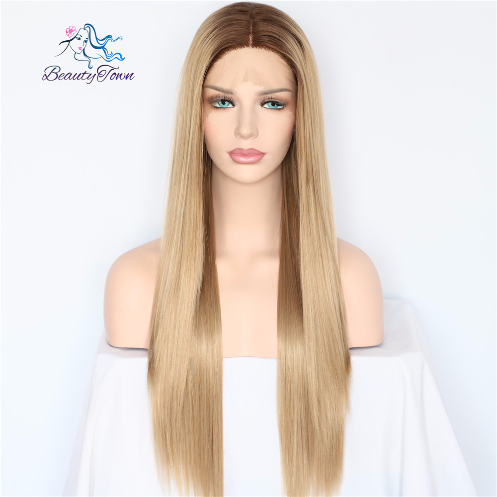BeautyTown Dark Brown Ombre Brown Daily Makeup Straight Style Heat Resistant Hair Wedding Party Gift Synthetic