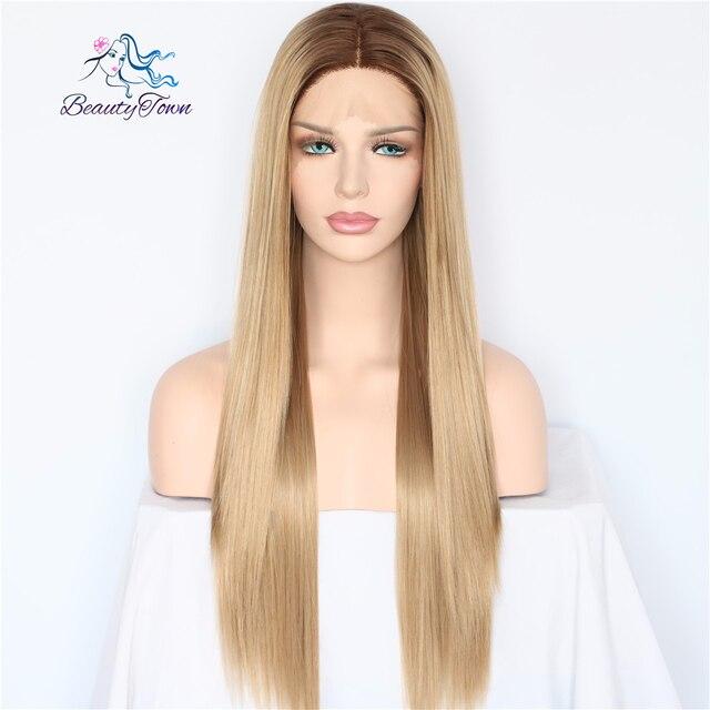 BeautyTown marrón oscuro Ombre marrón maquillaje diario estilo recto pelo resistente al calor regalo de fiesta de boda pelucas delanteras de encaje sintético
