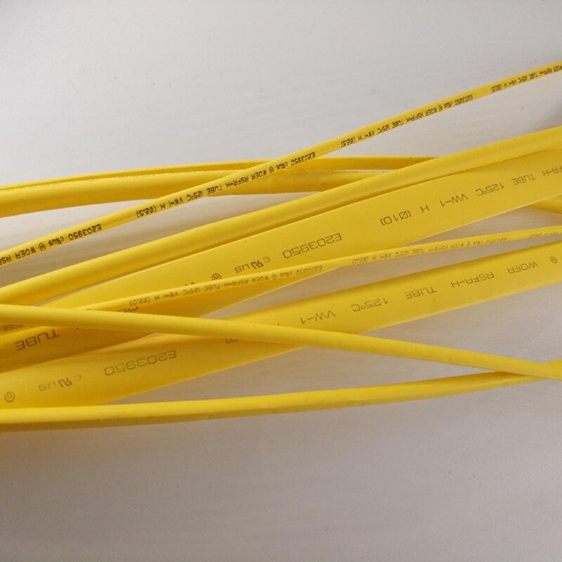1 M/lot 2:1 5mm 6mm 8mm 10mm Yellow Halogen free thermal shrinkable tube Heat Shrink Heatshrink Tubing Tube