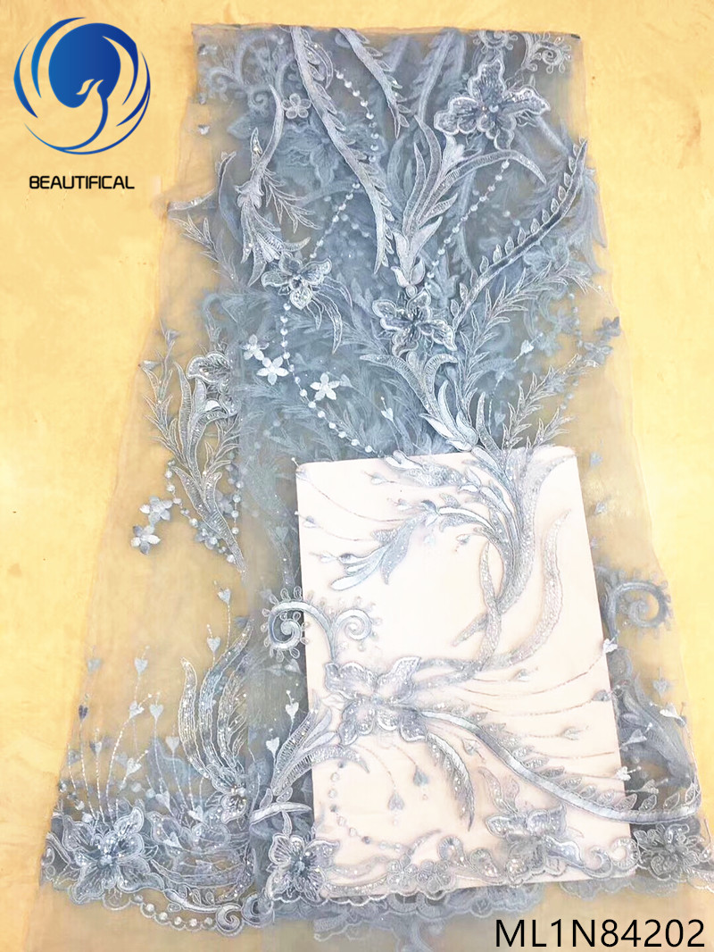 Beautifical nigerian bridal lace fabrics embroidered flowers net lace Latest frivolous french lace for wedding 5yards ML1N842Beautifical nigerian bridal lace fabrics embroidered flowers net lace Latest frivolous french lace for wedding 5yards ML1N842