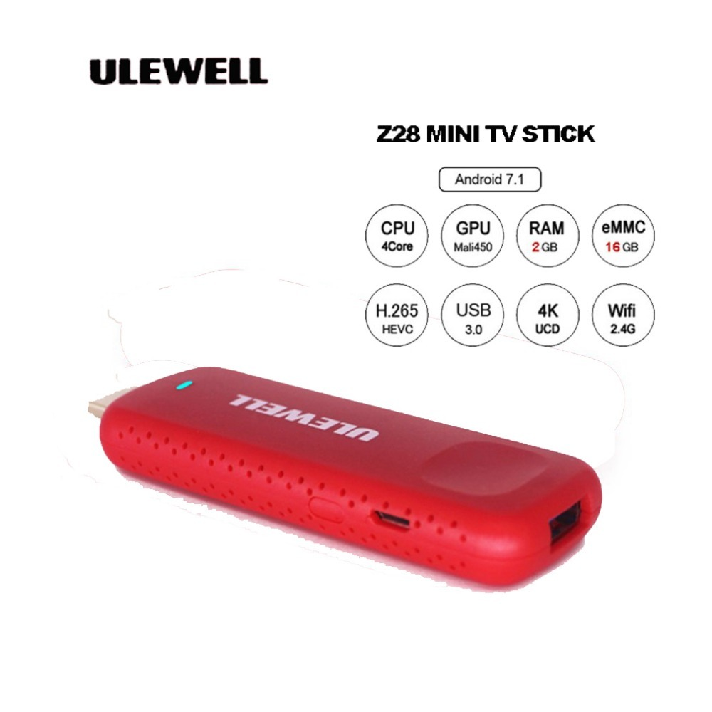 ULEWELL Z28 Mini TV Dongle H.265 4K Handheld TV Stick for Android 7.1 OS HDMI 2.0 TV BOX Mini Portable PC Travel Machine pvt 898 5g 2 4g car wifi display dongle receiver airplay mirroring miracast dlna airsharing full hd 1080p hdmi tv sticks 3251